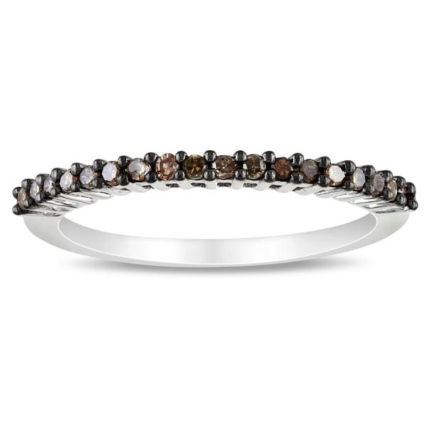 Miadora 14k White Gold Brown Diamond Stackable Band Ring