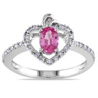 Miadora 10k White Gold Pink Sapphire 1/6ct TDW Diamond Heart Ring (G-H, I1-I2)