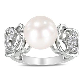 Miadora Silver Pearl and 1/6ct TDW Diamond Ring (I-J, I2-I3)