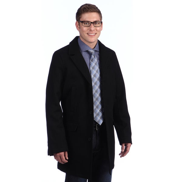 Tommy Hilfiger Men's Black Button-up Wool Blend Coat