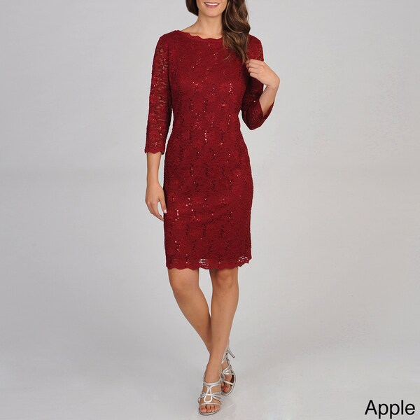 R & M Richards Women's Allover Stretch Lace Dress