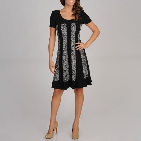 R & M Richards Women's Black and Silver Lace Panel Dress