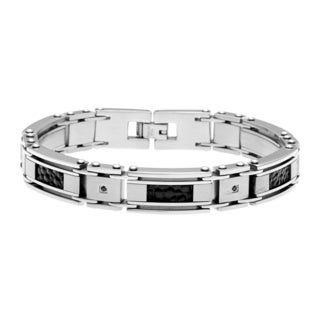 Steel Men's 1/10ct TDW Black Diamond and Textured Leather Inlay Bracelet