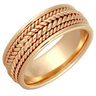 14k Yellow Gold Men's Handmade Comfort-fit 4-rope Wedding Band