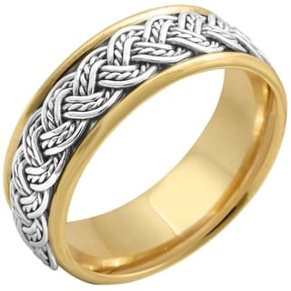 14k Two-tone Gold Men's Handmade Comfort-fit Weave Wedding Band