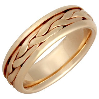 14k Yellow Gold Men's Handmade Comfort-fit Satin Wedding Band