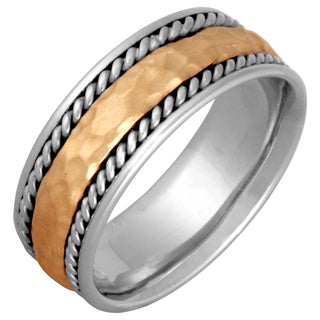 14k Two-tone Gold Men's Handmade Comfort-fit Hammered Wedding Band