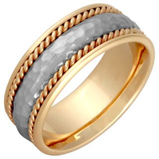 14k Two Tone Gold Mens Handmade Comfort Fit Hammered Rope Wedding Band