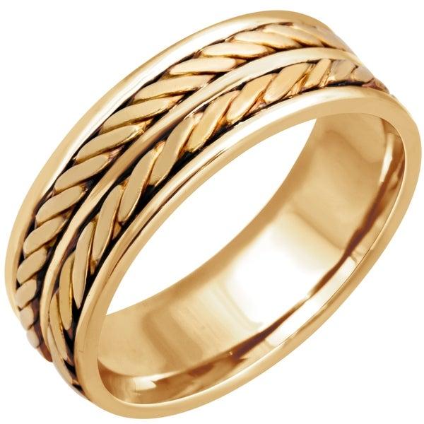 14k Yellow Gold Handmade Double Twist Design Comfort Fit Men's Wedding Bands. Opens flyout.