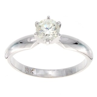 Victoria Kay 14k White Gold 1/2ct TDW Diamond Solitaire Engagement Ring (H-I, SI2-SI3)