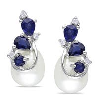 Miadora 10k White Gold Cultured Freshwater Pearl, Sapphire and Diamond Earrings (H-I, I2-I3)
