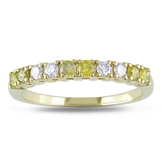 Miadora 14k Gold 1/2ct TDW Yellow and White Diamond Band