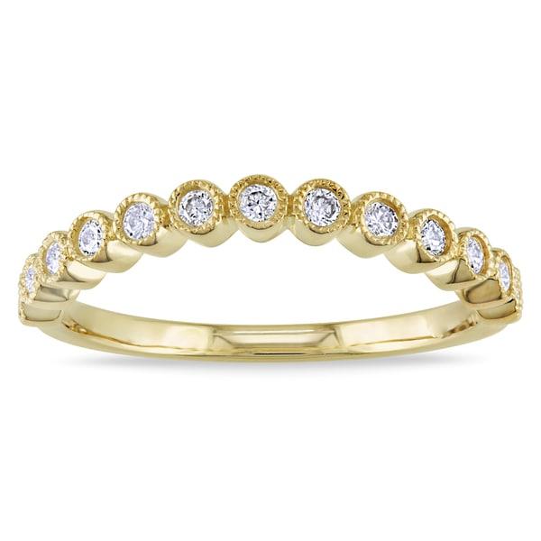 Miadora 10k Yellow Gold 1/4ct TDW Curved Diamond Ring