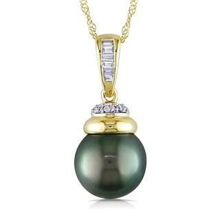 Miadora 14k Yellow Gold Tahitian Black Pearl and Diamond Necklace (10-11 mm)