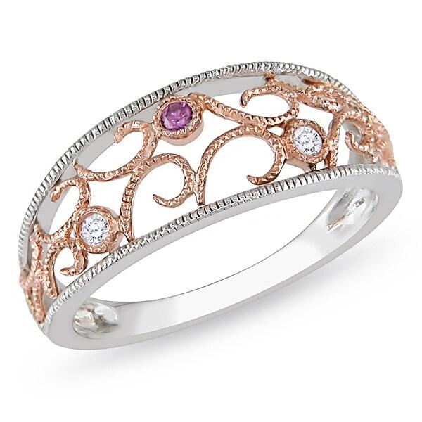Miadora 10k Two-tone Gold White Diamond Ring