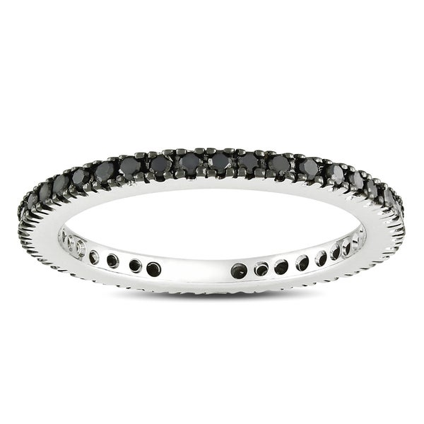 Miadora 14k White Gold 2/5ct TDW Black Diamond Eternity Ring
