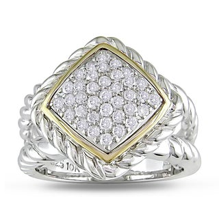 Miadora 14k Yellow Gold and Sterling Silver 1/2ct TDW Diamond Braided Style Ring (H-I, I2-I3)