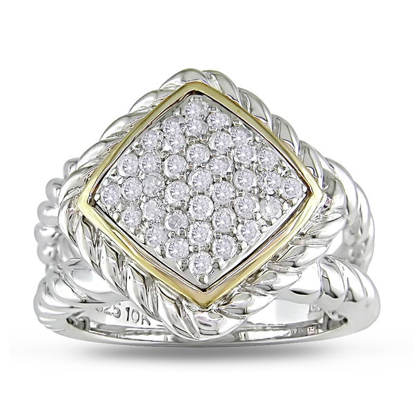 Miadora 14k Yellow Gold and Sterling Silver 1/2ct TDW Diamond Braided Style Ring