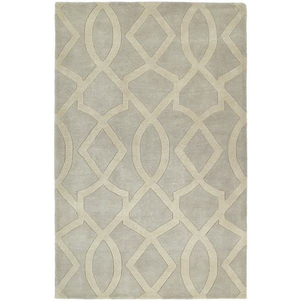 "Graffix Hand-Tufted Light Grey Rug (9'6 x 13') - 9'6"" x 13'"