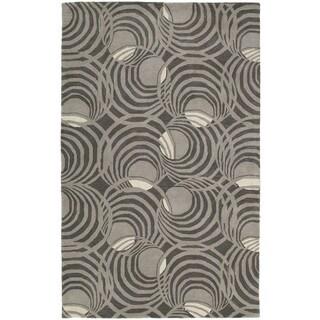 Graffix Spiral Hand-Tufted Grey Rug (7'6 x 9'0)