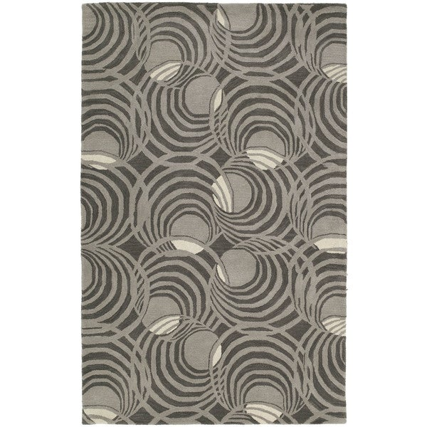 Graffix Spiral Hand-Tufted Grey Rug - 7'6 x 9'
