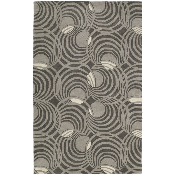 Graffix Spiral Hand-Tufted Grey Rug - 9'6 x 13'
