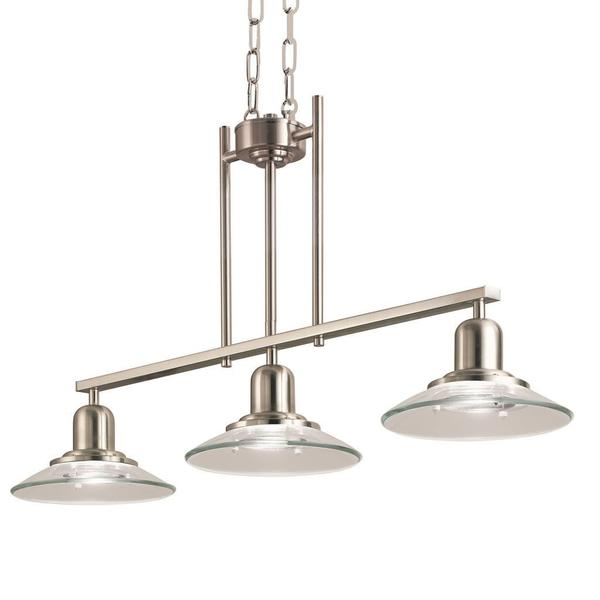 Contemporary brushed nickel 3 light island light free
