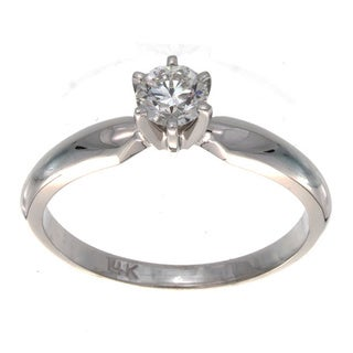 Victoria Kay 14k White Gold 1/3ct TDW Diamond Solitaire Engagement Ring
