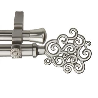 Cloud Adjustable Satin Nickel Double Curtain Rod