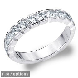 Amore 14k Gold 1ct TDW Machine-set Round Diamond Eternity Band (H-I, I1-I2)