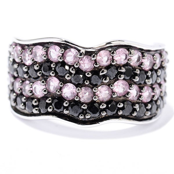 Sterling Silver 2 2/5ct TGW Black Spinel and Pink Sapphire Wave Ring