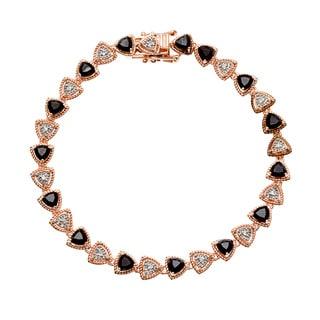 18k Rose Gold over Silver Black Spinel and White Zircon Tennis Bracelet