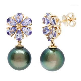 D'sire 10k Yellow Gold Tahitian Pearl and Tanzanite Earrings (9-10 mm)