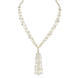 Pearlyta Sterling Silver White Freshwater Pearl Tassel Necklace (5-7 mm)
