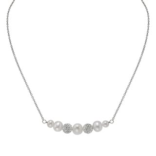 Pearlyta Silver White Freshwater Pearl and Crystal Ball Necklace (5-8 mm)