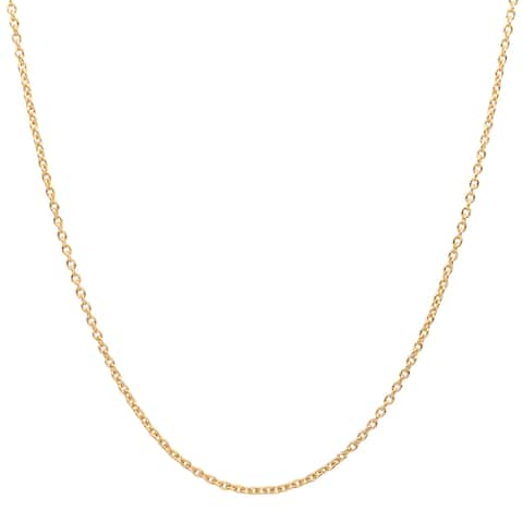 Sterling Essentials 14k Gold over Silver 1 mm Cable Chain (16-24 Inch)