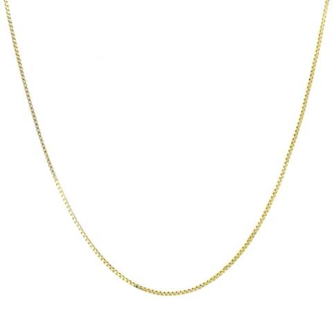 Roberto Martinez Italian Roberto Martinez Yellow Gold Plated Silver 1 mm Box Chain (16-30 Inch)