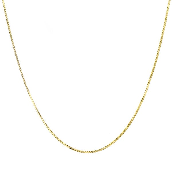 Sterling Essentials Italian 14k Gold over Silver 1 mm Box Chain (16-30 Inch) - Yellow