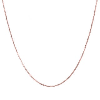 Sterling Essentials Italian Rose Gold over Silver 1 mm Box Chain (16-30 Inch) - White