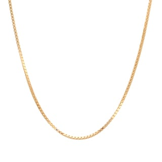 Sterling Essentials Italian 14k Gold over Silver 1.25 mm Box Chain (16-30 Inch)