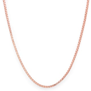 Sterling Essentials Italian Rose Gold over Silver 1.25 mm Box Chain (16-30 Inch)