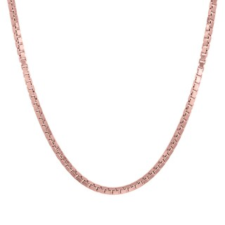 Italian Rose Gold over Sterling Silver 2 mm Box Chain (16-30 Inch )