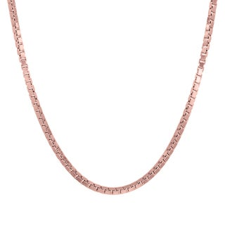 Sterling Essentials Italian Rose Gold over Silver 2 mm Box Chain (16-30 Inch )