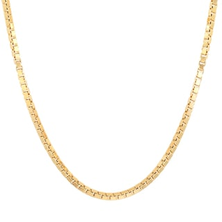 Sterling Essentials Italian 14k Gold over Silver 2 mm Box Chain (16-30 Inch)