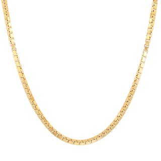 Sterling Essentials Italian 14k Gold over Silver 2 mm Box Chain (16-30 Inch) - Yellow