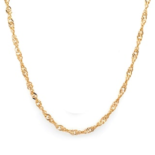 Sterling Essentials 14k Gold over Silver 2 mm Singapore Chain (16-24 Inch)