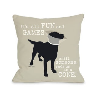 Oatmeal Fun and Games Dog Throw Pillow
