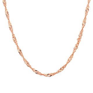Sterling Essentials 14k Rose Gold over Silver 2 mm Singapore Chain (16-24 Inch)