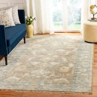 Safavieh Couture Handmade Oushak Traditional Brown / Blue Wool Rug - 6' x 9'
