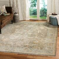 Safavieh Couture Handmade Oushak Traditional Brown / Blue Wool Rug - 9' x 12'